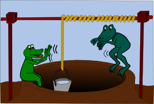 two frogs at a well